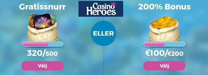 Casino Heroes casinobonus eller freespins 2017