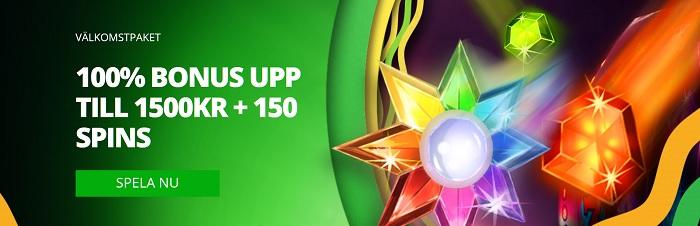 Casinoluck bonus ger dig 100% bonus och 150 free spins