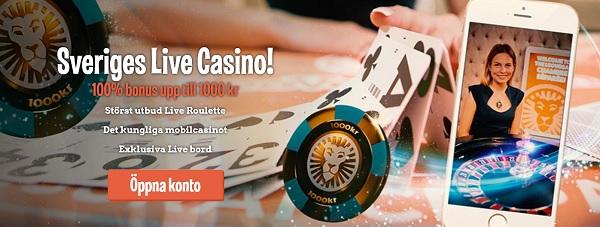 LeoVegas livecasino-bonus på 100 % upp till 1 000 kr